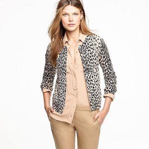 J. CREW • merino wool snow leopard print cardigan